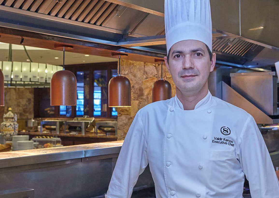 Chef Augusto Piras with spoon